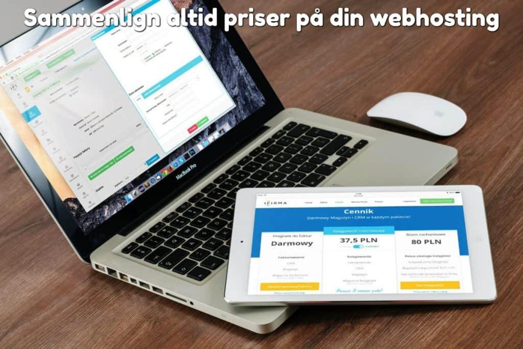 Sammenlign altid priser på din webhosting